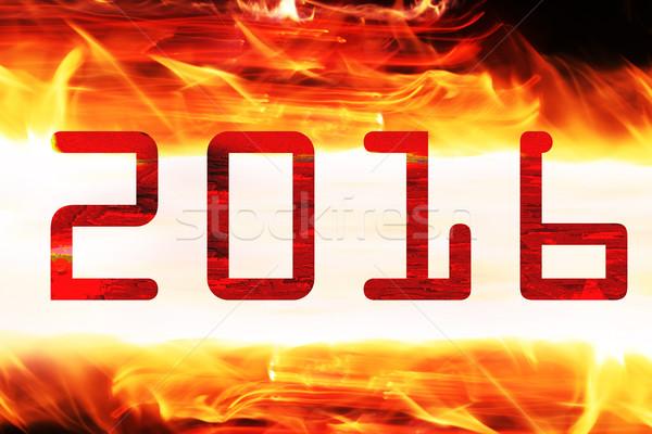 2016 vurig teken kalender Rood achtergronden Stockfoto © kash76
