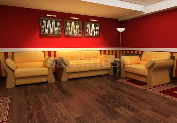 Biliardo esclusivo interni rosso disegno stanza Foto d'archivio © kash76
