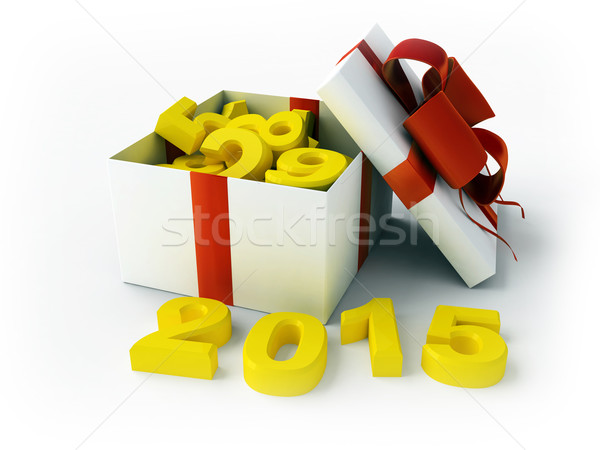 Stock photo: White gift and figures 2015