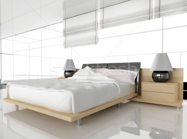 Modernes chambre blanche 3D image maison Photo stock © kash76