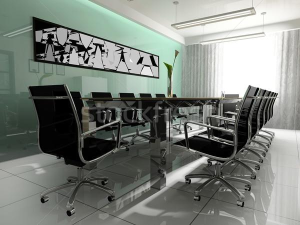 Munkahely tárgyalás modern iroda 3D renderelt kép Stock fotó © kash76