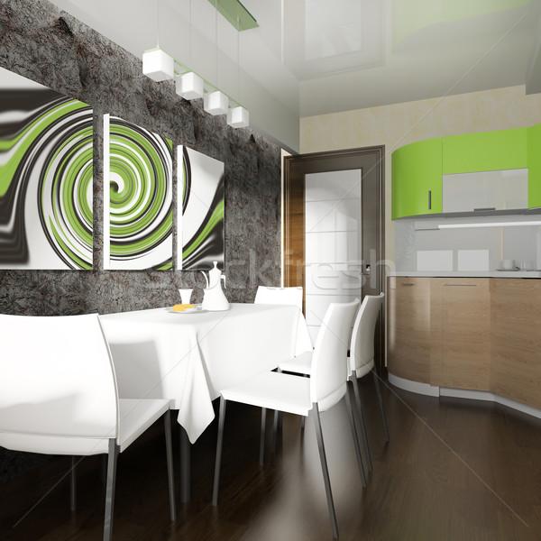 Moderno domestico cucina interior design 3D Foto d'archivio © kash76