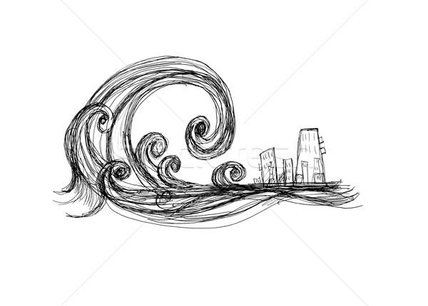 цунами город черно белые рисунок пляж природы Сток-фото © kash76