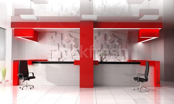 Rojo recepci n moderna hotel negocios oficina for Recepcion oficina moderna