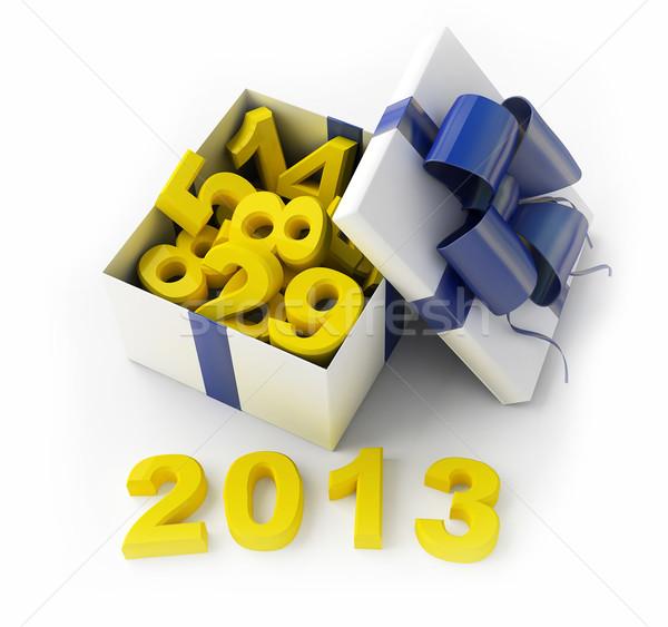 Fehér ajándék 2013 ajándék doboz 3D renderelt kép Stock fotó © kash76