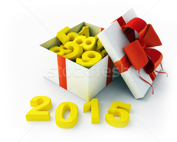White gift and figures 2015 Stock photo © kash76