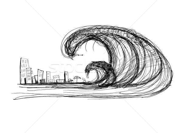 цунами город черно белые рисунок пляж морем Сток-фото © kash76