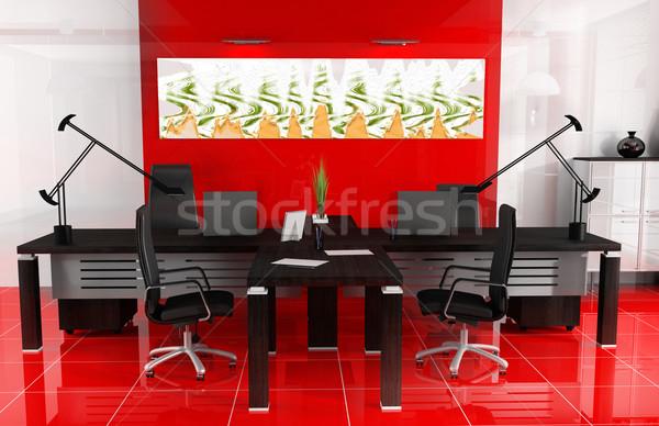 Vermelho escritório moderno interior 3D imagem Foto stock © kash76