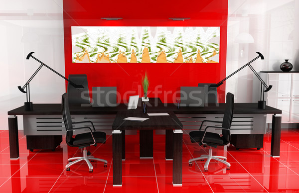 Piros iroda modern belső 3D kép Stock fotó © kash76