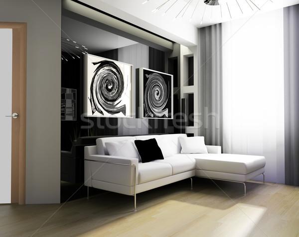 dessin chambre 3d modernes exclusif design photo stock alexey kashin kash76. Black Bedroom Furniture Sets. Home Design Ideas