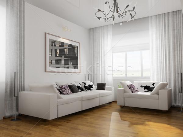 Sala de estar moderno mobiliário 3d render casa janela Foto stock © kash76