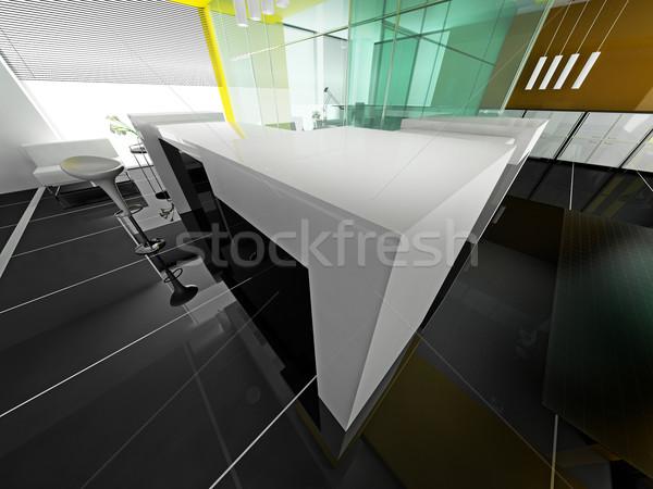 Photo stock: Réception · hôtel · salle · 3D · image · lumière