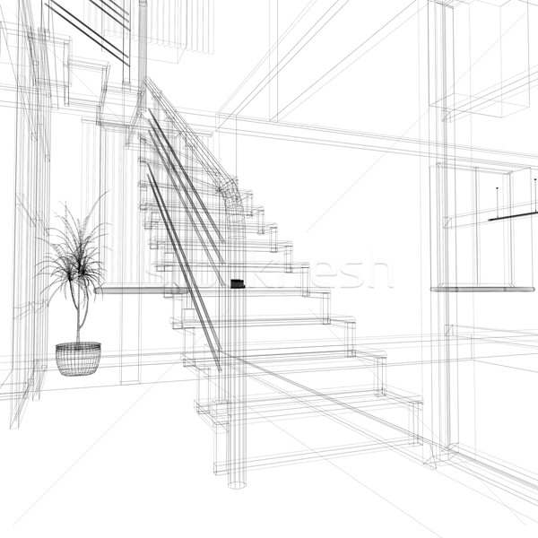 Korytarz nowoczesne biuro schody ściany Zdjęcia stock © kash76