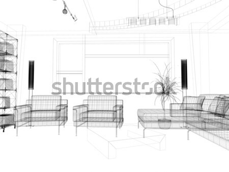 Foto stock: Desenho · quarto · moderno · projeto · parede · luz