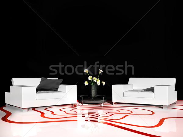 Branco mobiliário moderno interior 3D Foto stock © kash76