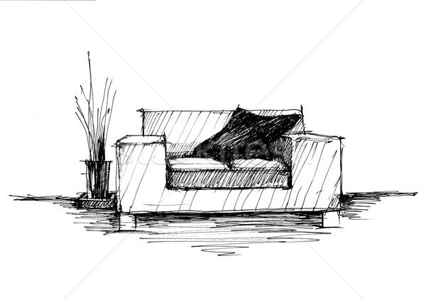 Stockfoto: Moderne · interieur · fauteuil · muur · monochroom · tekening