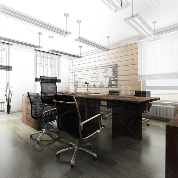 Kantoor interieur klassiek stijl 3D Stockfoto © kash76