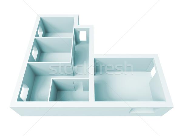 Wohnung Projekt groß Auflösung Bild Innenraum Stock foto © kash76