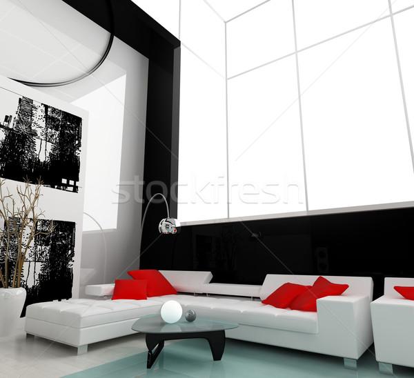 Bianco disegno stanza interni moderno città Foto d'archivio © kash76