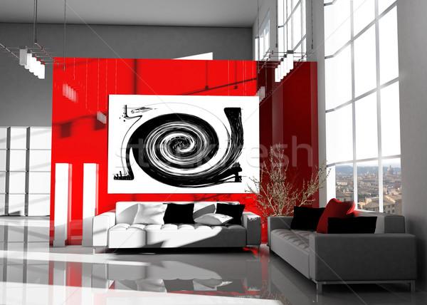 Modern padlás belső fény otthon művészet Stock fotó © kash76
