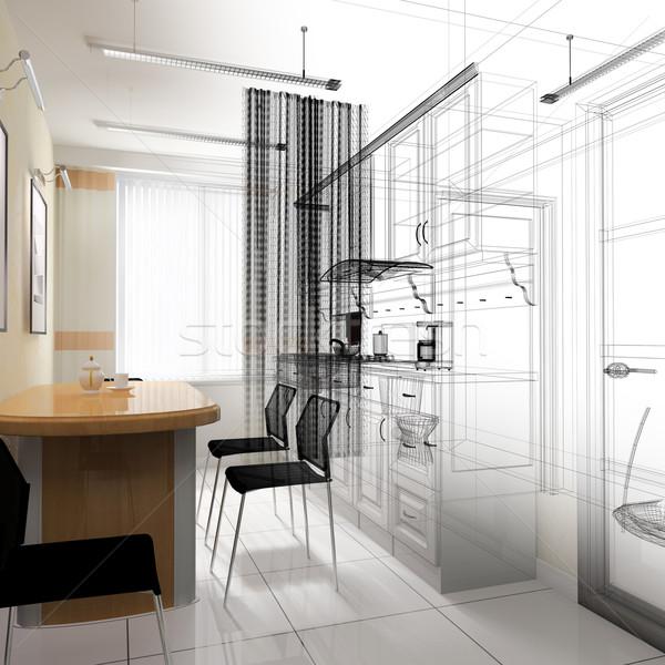 Pranzo moderno ufficio 3D casa Foto d'archivio © kash76