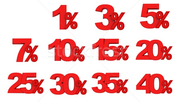 Set red sign  percent Stock photo © kash76