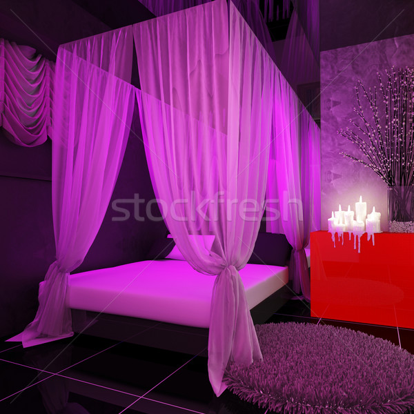 Four poster bed in a luxurious master bedroom Stock photo © kash76