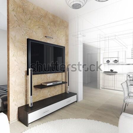 Stok fotoğraf: Modern · iç · oturma · odası · 3D · ev
