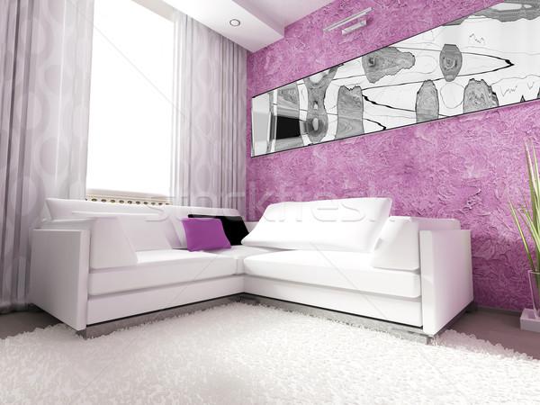 Modern belső nappali 3D renderelt kép ház Stock fotó © kash76