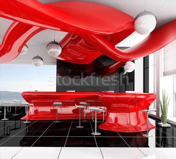 Foto stock: Recepción · moderna · hotel · 3D · imagen · diseno