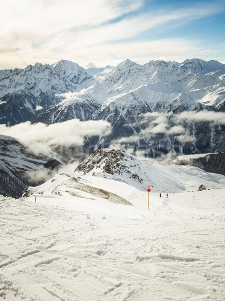 Slopes of Grossglockner - Heiligenblut ski resort in Alps Stock photo © kasjato