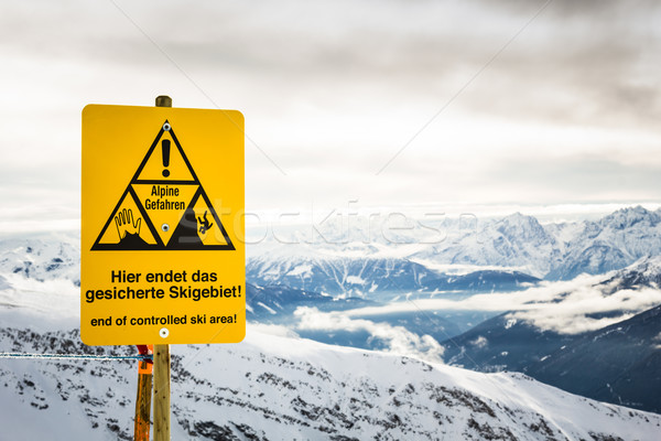 End of controlled ski area sign Stock photo © kasjato