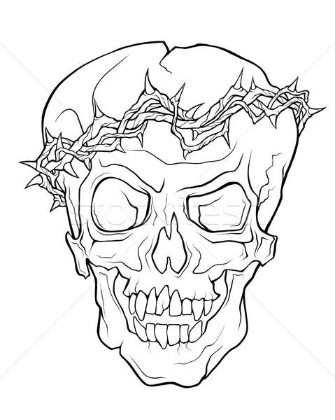 The skull of a grinning vampire in thorns wreath .  Stock photo © katya_sorokopudo