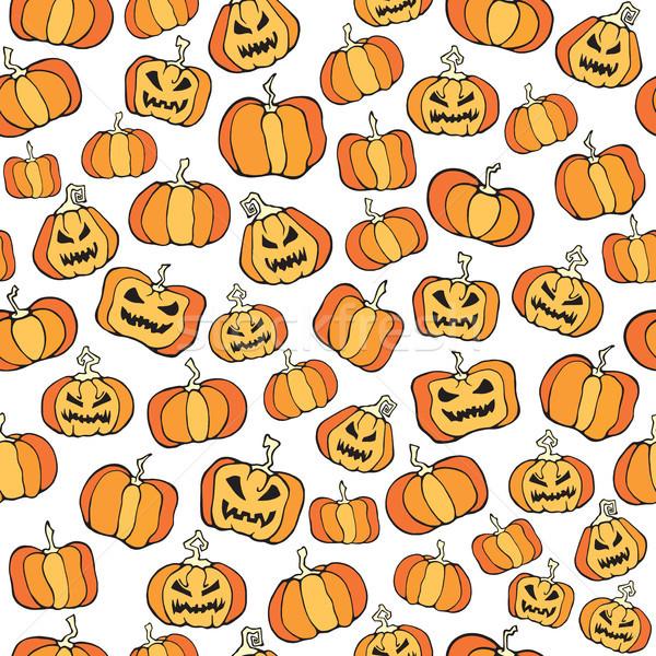 Vector Halloween pumpkin comic seamless pattern.  Stock photo © katya_sorokopudo