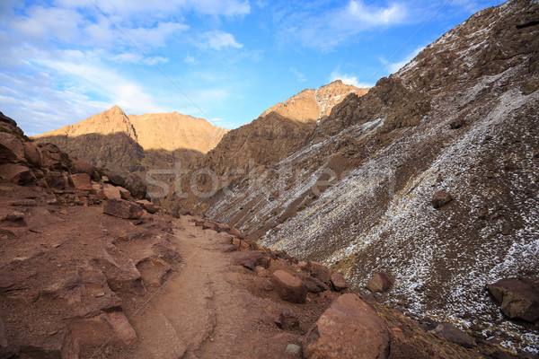 Atlas Mountains. Mountain walking hiking trail. Morocco, winter. Stock photo © katya_sorokopudo
