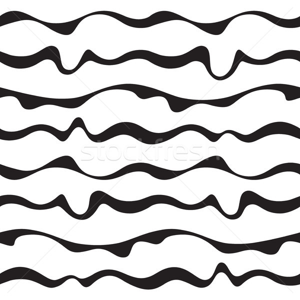 Seamless fabric pattern with curve black lines. Abstract monochrome pattern. Stock photo © katya_sorokopudo