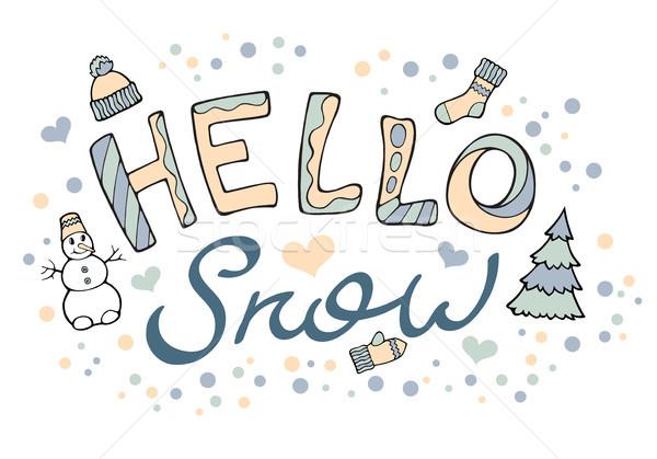 Moderno engraçado olá neve mão desenho Foto stock © katya_sorokopudo