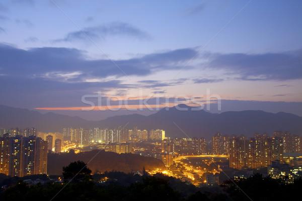 Hong Kong centro da cidade pôr do sol tempo urbano nascer do sol Foto stock © kawing921