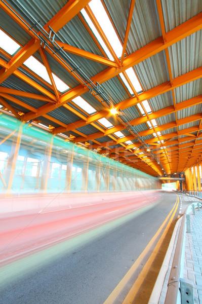Narancs alagút nappal mozog busz város Stock fotó © kawing921