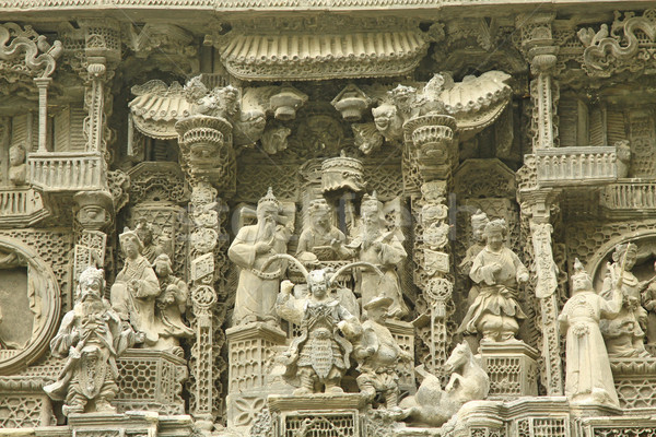 Chinese carvings on exterior of a temple Stock photo © kawing921