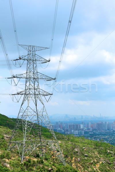 Macht toren kabels metaal Blauw industrie Stockfoto © kawing921