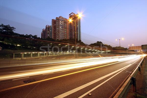 Ruchu autostrady Hongkong noc samochodu budynku Zdjęcia stock © kawing921