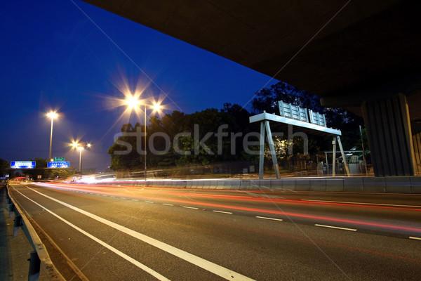 Tráfego rodovia Hong Kong noite carro edifício Foto stock © kawing921