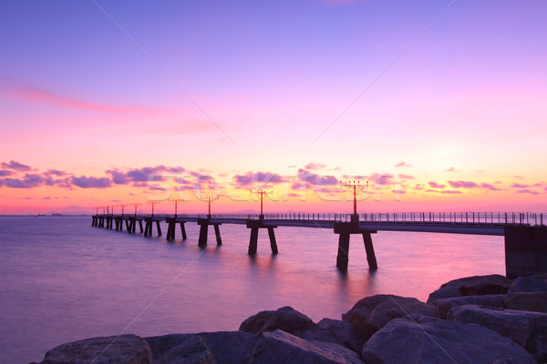 Pôr do sol costa mar pedras água paisagem Foto stock © kawing921