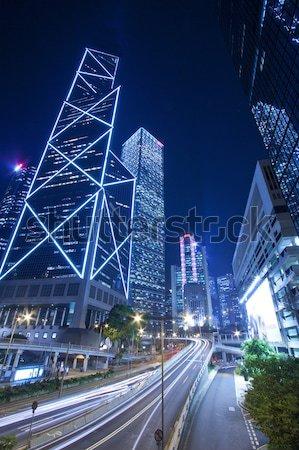 Hong Kong ocupado tráfego centro da cidade abstrato luz Foto stock © kawing921