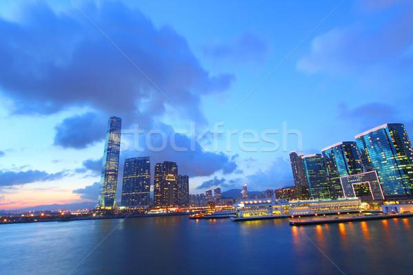 Hong Kong pôr do sol ver distrito negócio escritório Foto stock © kawing921