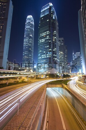 Busy night traffic in business district of modern city Stock photo © kawing921