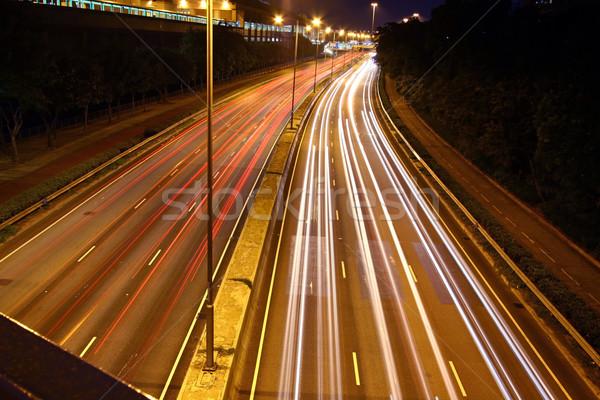Verkeer snelweg Hong Kong nacht auto gebouw Stockfoto © kawing921