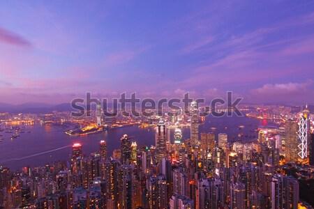 Hong Kong pôr do sol negócio escritório edifício cidade Foto stock © kawing921