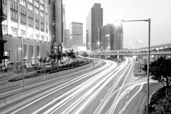 Stockfoto: Verkeer · Hong · Kong · nacht · zwart · wit · business · abstract